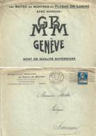"""Motiv Brief  """"Manufacture Genevoise De Boîtes De Montres""""              1927 - Storia Postale"""