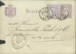 Netherlands 1879 Postal Stationery Card Tiel - Luik / Liege (Belgium) Uprated - Postal Stationery