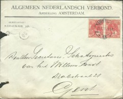 Netherlands 1911 Postal Cover Amsterdam - Gent (Belgium) - 1891-1948 (Wilhelmine)