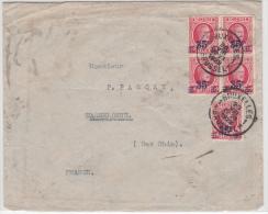 BELGIUM USED COVER 20/08/1928 COB 247 (1 BLOC DE QUATRE 1 SEUL) BRUXELLES VERS WASSELONNE FRANCE - 1922-1927 Houyoux