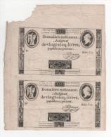 - 2 Assignat De 25 Livres à Face Royale, Non Découpés, Série 512 Du 24 Oct 1792, Signé A. Jame - Assignats & Mandats Territoriaux