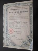 15 Avril 1889 Action Titre EXPOSITION UNIVERSELLE 1889 : BON A LOT De 25 Francs Au Porteur - 2 Cachets à Relief à Sec - Aandelen
