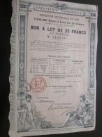 15 Avril 1889 Action Titre EXPOSITION UNIVERSELLE 1889 : BON A LOT De 25 Francs Au Porteur - 2 Cachets à Relief à Sec - D - F