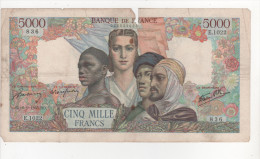 - Billet De 5000 Francs Du 6-9-1945 - 1871-1952 Circulated During XXth