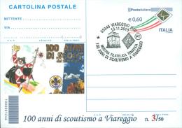 VIAREGGIO - 100 ANNI DI SCOUTISMO A VIAREGGIO - CARTOLINA - INTERO POSTALE CON SOPRASTAMPA PRIVATA - Movimiento Scout