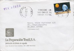 Spain Via AEREA (Purple Line Cds.) LA PREPARACION TEXTIL, BARCELONA 1987 Cover Letra LYNGBY Denmark Expo Sevilla Stamp - Luftpost