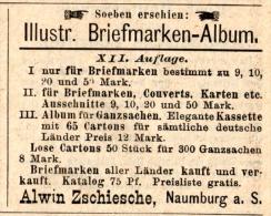 Original-Werbung/Inserat/ Anzeige 1891 - ILLUSTR.BRIEFMARKEN-ALBUM / ZSCHIESCHE NAUMBURG Ca. 45 X 35 Mm - Publicidad