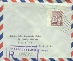 Bolivia 1961 Postal Cover La Paz - Basel (Switzerland) Tiahuanacu - Bolivie
