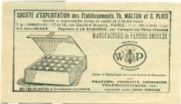 Reclame Uit 1948 - Sociéte D'Exploitation De Etab. Th. Walton Et C. Place - Papeterie à La Chagnaie Par Montagne-sur-Sèv - Publicités