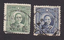 China, Scott #299, 303, Used, Dr. Sun Yat-sen, Issued 1931-1933 - China