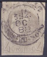 12513# 4 Centimes GRIS CERES BORDEAUX N° 41 B REPORT 2 Obl USAGE TARDIF COTES DU NORD 1888 LEGER PELURAGE Cote 325 Euros - 1870 Bordeaux Printing