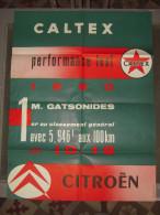 Automobiles/Moteurs/Garag e Affiche ancienne de 1960 huile moteurs CALTEX CITROEN ID 19 rallye Gatsonides