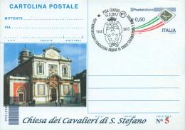 PISA - CHIESA CAVALIERI SANTO STEFANO-ORDINE SANTO STEFANO -- CARTOLINA - INTERO POSTALE CON SOPRASTAMPA PRIVATA - Saints