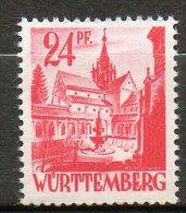WURTEMBERG  24p Rose Carmin 1947-48  N°8 - Zone Française
