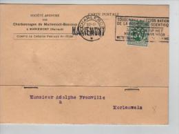 TP 283 S/CP De La S.A.Charbonnages Mariemont-Bascoup C.méc.Charleroi En 1930+ Griffe Mariemont  PR1020 - Postmark Collection