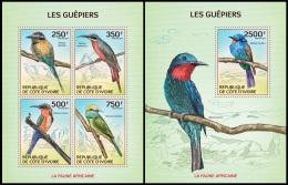 ic14103ab Ivory Coast 2014 Birds Bee-eaters 2 s/s