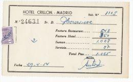 ADDITION HOTEL CRILLON - MADRID - 1954 - Espagne