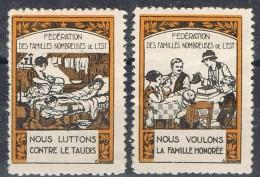 Dos Viñetas  Beneficas Familias Numerossas FRANCE * - Antituberculeux