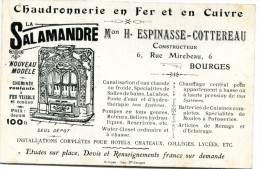 18 CARTE PUBLICITAIRE CHAUDRONNERIE EN FER ET EN CUIVRE LA SALAMANDRE 6 RUE MIREBEAU BOURGES - Advertising