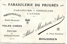 18 CARTE PUBLICITAIRE PARASOLERIE DU PROGRES 9 PLACE GORDAINE BOURGES - Advertising