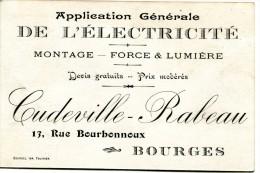 18 CARTE PUBLICITAIRE APPLICATION GENERALE DE L ELECTRICITE 13 RUE BOURBONNOUX BOURGES - Advertising