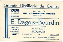 18 CARTE PUBLICITAIRE GRANDE DISTILLERIE DU CENTRE 61 RUE D AURON BOURGES - Advertising