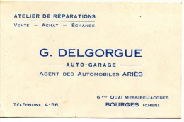 18 CARTE PUBLICITAIRE AUTO GARAGE G.DELGORGUE 6 Bis QUAI MESSIRE JACQUES BOURGES - Publicités