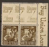 SOUTH AFRICA 1941 1/3 + Ad Tabs SG 94 HM #CM451 - Sud Africa (...-1961)