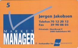 Denmark, P 254, Visiting Card, Market Manager, Jørgen Jakobsen Mint, Only 600 Issued, 2 Scans - Dänemark