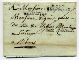 Vari�t�/ Erreur  : P27P BEAUCAIRE + P29P BEAUCAIRE /  Dept Eure et Loir au lieu du Gard / 15 Avril 1807