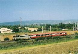 LAPALUD (84) BB 9620 Tractant Un Autorailo X 4600 En Septembre 1999 - Détails 2ème Scan - Trains