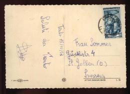 TRENTO 1953 - CARTOLINA CON BEL FRANCOBOLLO DA £12 ISOLATO X LA SVIZZERA - 6. 1946-.. Repubblica