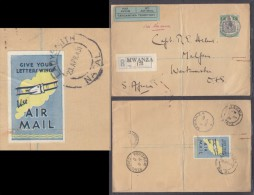 MWANZA Tanganyika 1931 Registered Air Mail To WESTMINSTER (OFS) Via KISUMU MOMBASA & LADYSMITH - Tanganyika (...-1932)