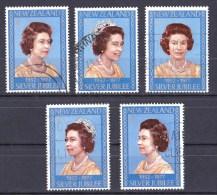 New Zealand 1977 Silver Jubilee - Queen Elizabeth Set Of 5 Used - - - New Zealand