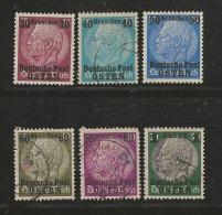 """DEUTSCHE POST """"OSTEN"""", 1939, Cancelled Stamp(s) Hindenburg MI 1=13 #16003 6 Values Only - Occupation 1938-45"""