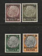 """""""DEUTSCHE POST OSTEN"""", 1939, Mint Hinged Stamp(s) Hindenburg MI 1=13 #16000 4 Values Only - Occupation 1938-45"""