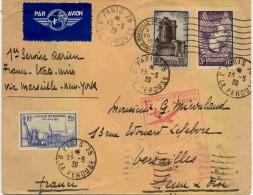 Lettre Avec Cachet 1er Service Aérien France Etats Unis Via Marseille - Storia Postale
