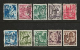 RHEINLAND -PFALZ 1947, Cancelled Stamp(s) 10 Famous People 1=41, #16030 - American,British And Russian Zone
