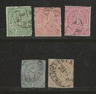 NORDDEUTSCHER POSTBEZIRK, 1868 Cancelled Stamp(s) First Issue, Kreuzer  , MI 7-11 # 16045, Complete - North German Conf.