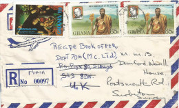 Ghana 1982 Nima Chief Golden Elephant Staff Sir Rowland Hill Christmas Lucas Cranach Painting Registered Cover - Ghana (1957-...)