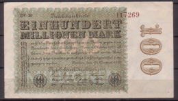 Weimarer Republik , Infla , 100 Millionen Mark , 1923 , RB-106 L , VF - 1918-1933: Weimarer Republik