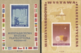 Poland,  Scott 2014 # B104-105,  Issued 1955,   2 S/S Of 1,  MNH,  Cat $ 21.75,  Philatelic - 1944-.... Republic