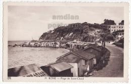 ALGERIA / ALGERIE CPA - BONE, Plage De Saint Cloud - Beach Cabins C1940-50s Vintage Postcard - Town View - Annaba (Bône)