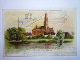 GRUSS  Aus  BRANDENBURG  A. / H.  :  Blick Auf Den Domeund Ritterakademie.   1901 - Brandenburg