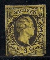 SACHSEN, 1851, Cancelled Stamp(s) 3 Neu Groschen, Friedrich August II, MI 6 # 16076, - Saxony