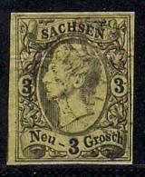 SACHSEN, 1855, Cancelled Stamp(s) 3 Neu Groschen, Johann I, MI 11 # 16078, - Saxony