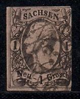 SACHSEN, 1856, Cancelled Stamp(s) 1 Neu Groschen, Johann I, MI 9 # 16080, - Saxony