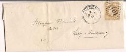 Vareddes 1868 Cachet Perlé / GC 4101 Destination Lizy Sur Ourcq Seine Et Marne - Marcophilie (Lettres)