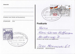"E615 Postkarte Bahnpost ""HANNOVER-OLDENBURG,OLDB"" UB ""b"" 1983 - BRD"