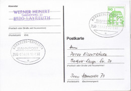"E636 Postkarte Bahnpost ""NÜRNBERG-BAYREUTH"" UB ""e"" 1980 - Usati"